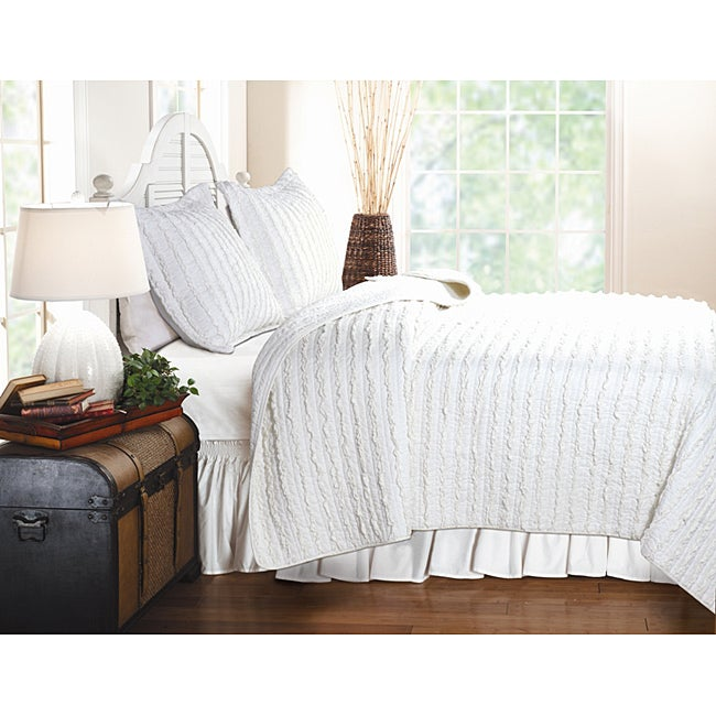 Greenland Home Fashions White Ruffle Full/ Queen-size 3-piece Quilt Set