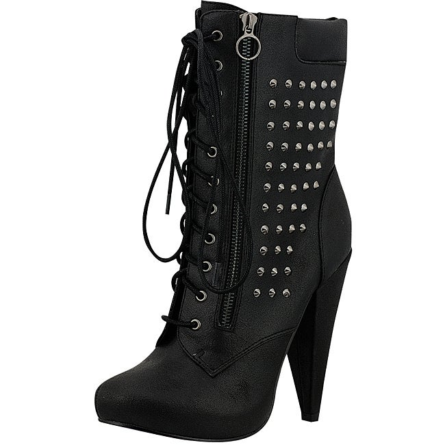 Fahrenheit Women's Black Stud Lace-up Ankle Boot