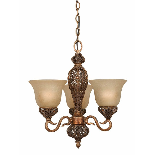 Crown Jewel 3-Light Antique Gold Chandelier