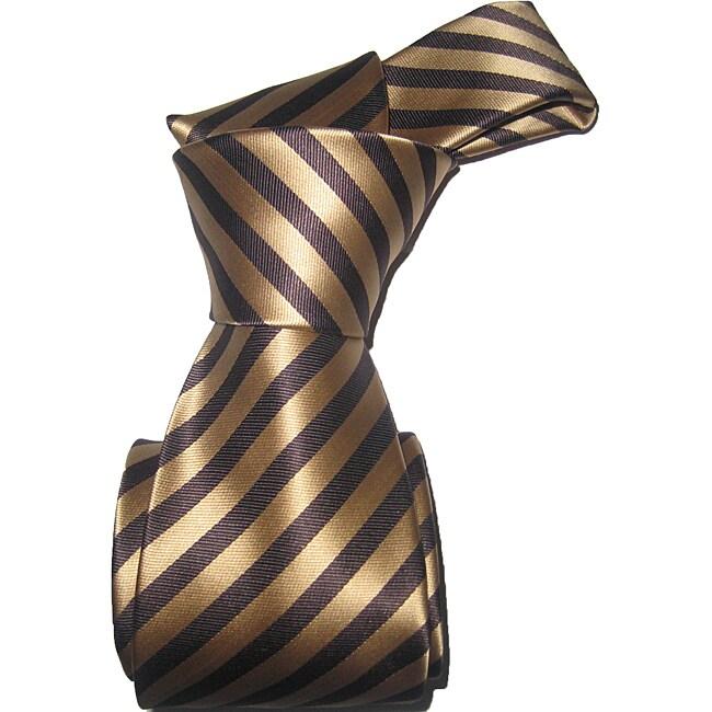 Dmitry Men's Brown Striped Italian Silk Tie Set