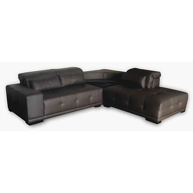 Lauren Dark Brown Leather Sectional Sofa