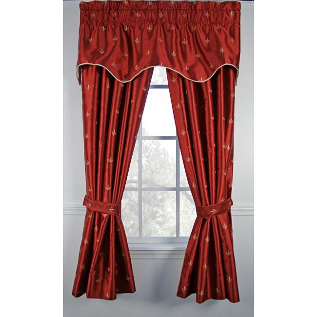 Fleur De Lis Red 84-inch 5-piece Curtain Set