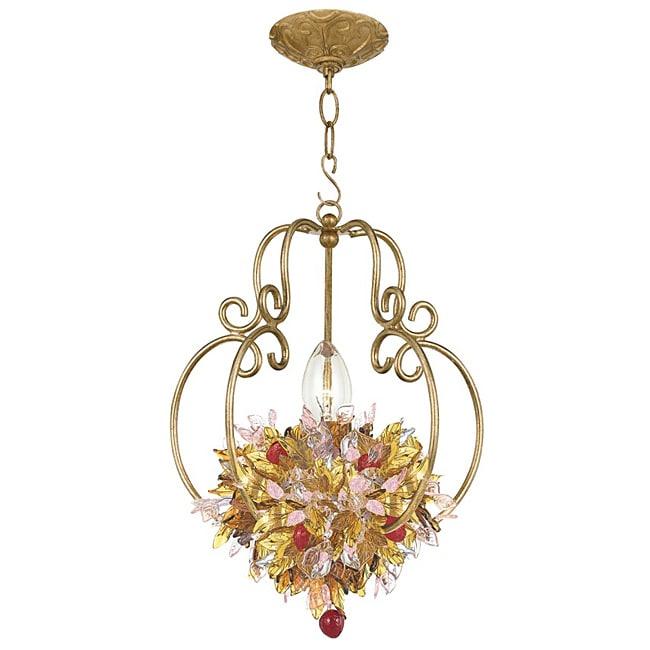 Crystorama Fiore 1 light Antique Gold Leaf Pendant Fixture