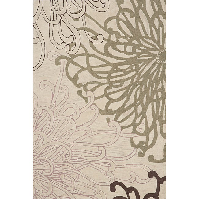 Hand Tufted Montage Flowers Ivory Rug (7'6x9'6)