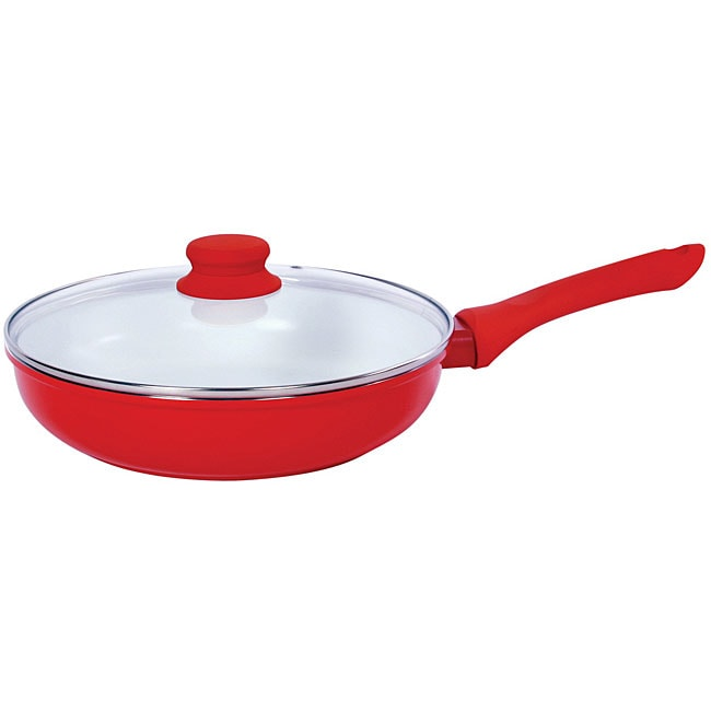 Vinaroz Red Ceramic Coated 11-inch Frying Pan