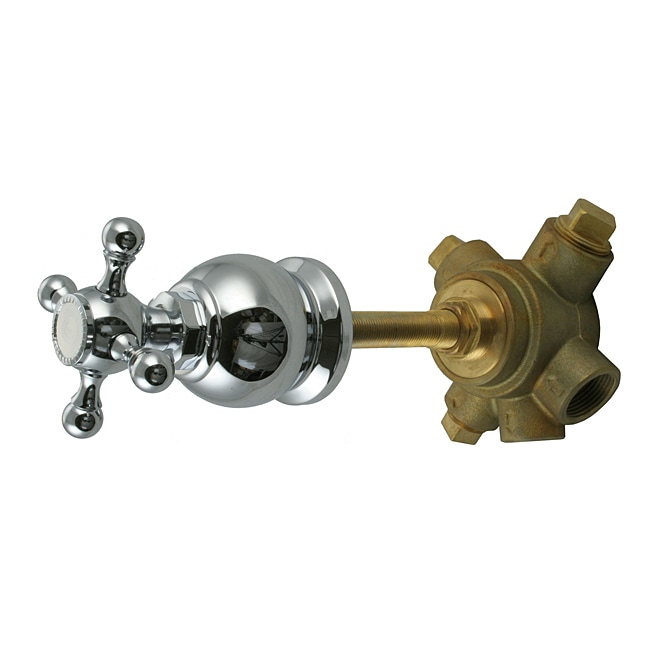 Westbrass 5-Port In Wall 3-Way Shower Diverter Valve with Cross Handle Polished Chrome