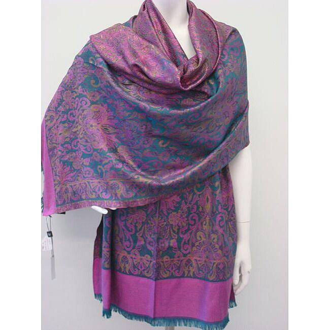 Selection Privee Paris 'Lola' Blue/ Purple Paisley Wool- and Silk-blend Wrap