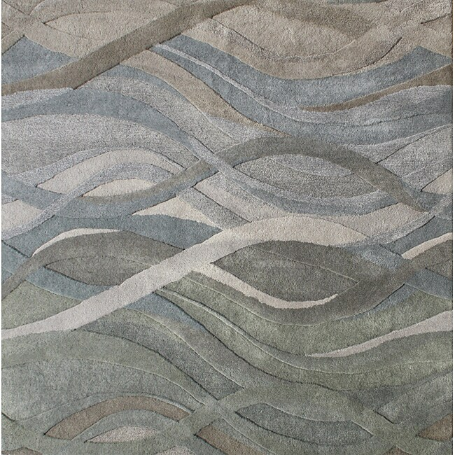 Alliyah Handmade Tufted Grey/ Green/ Light Rust New Zeeland Blend Classic Grey/ Green Wool Area Rug (6' x 6')