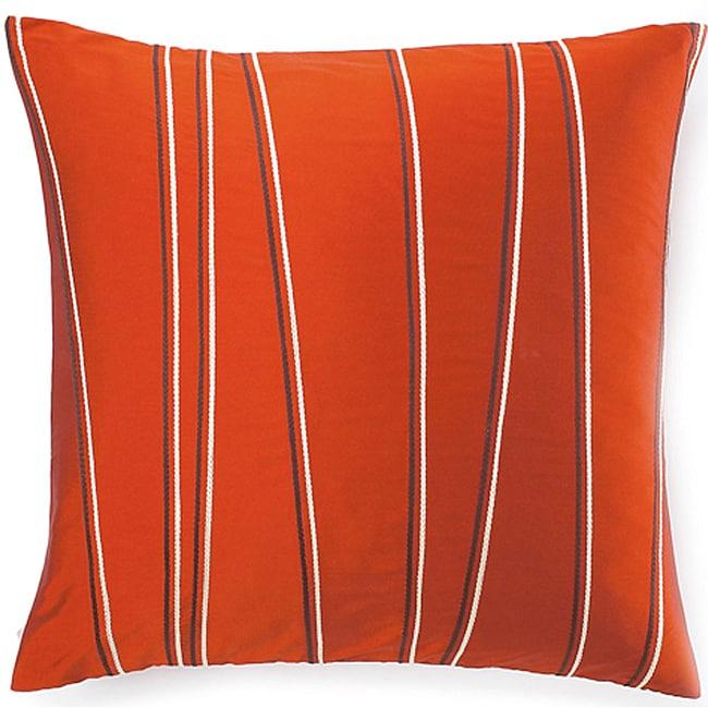 Diagonal-stripe-motif Orange Decorative Throw Pillow