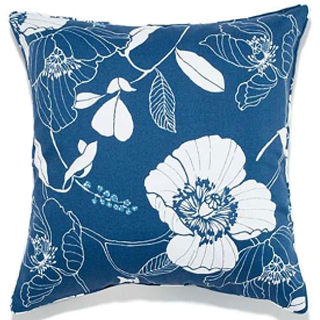 Poppy Blue Outdoor Pillow