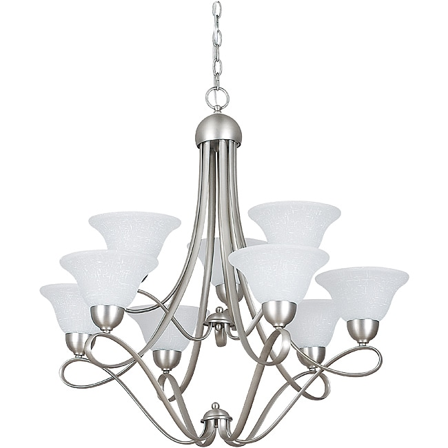 Satin Nickel Nine-Light Chandelier