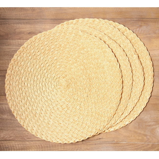 Braided victorian round gold placemats set of 4