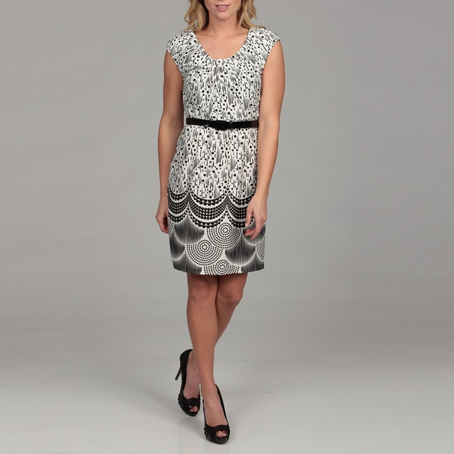 Spense Womens Black/ Ivory Print Belted Dress Today $26
