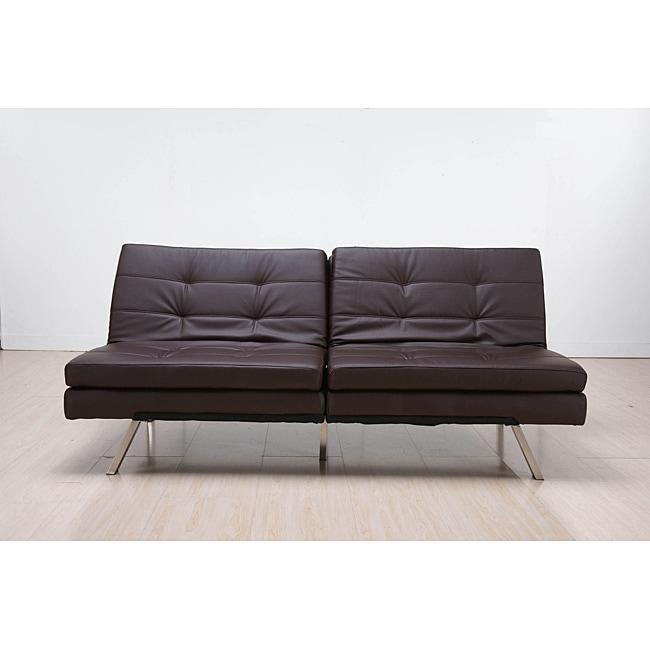 'Memphis' Brown Double-Cushion Futon Sofa/ Bed