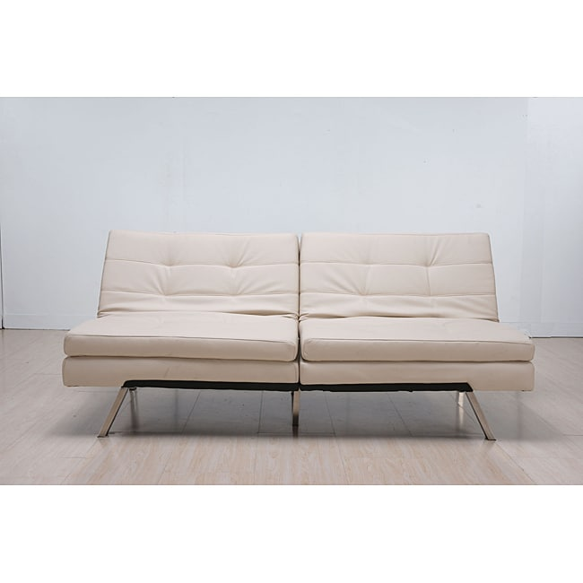 'Memphis' Cream Double-Cushion Futon Sofa/ Bed