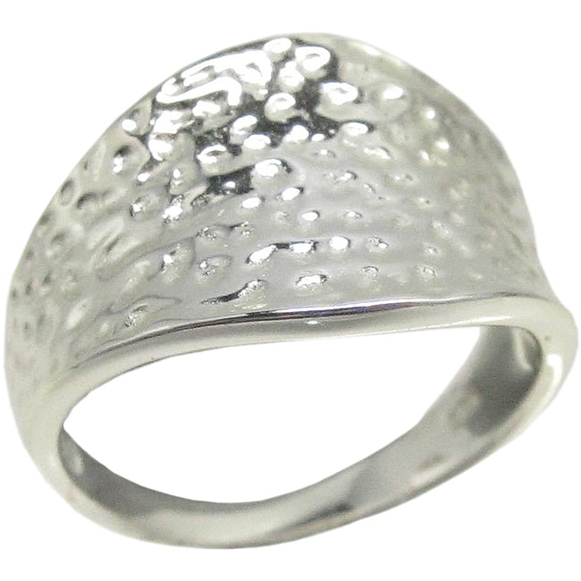 Sunstone Sterling Silver Textured Hammered Ring