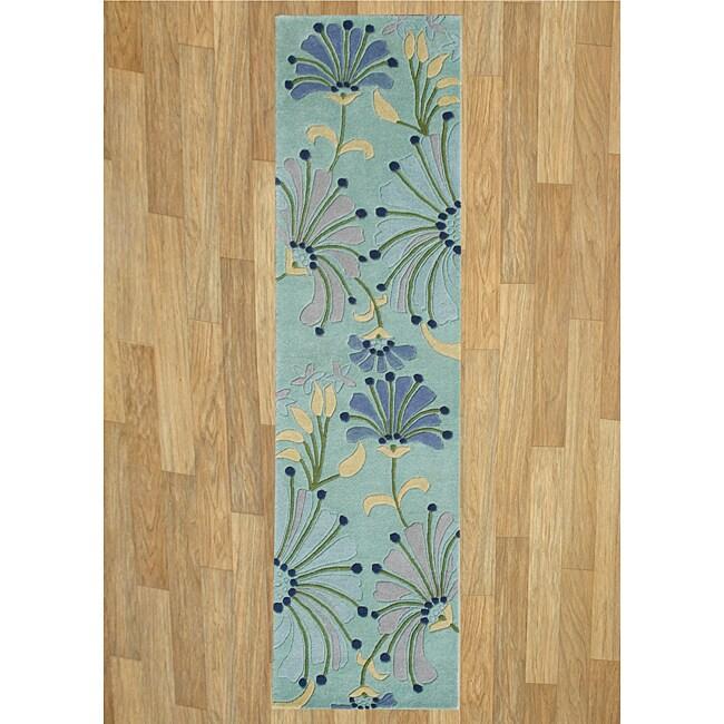 Alliyah Handmade Nile Blue New Zealand Blend Wool Rug(2'5 x 8')