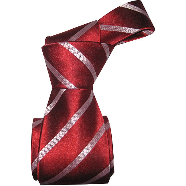 Dmitry Men's Red Striped Silk Tie