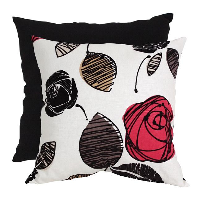 Pillow Perfect Floral Flocked Decorative Pillow