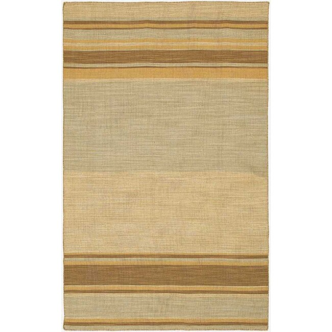 Flat Woven Brown Wool Rug (10' x 14')