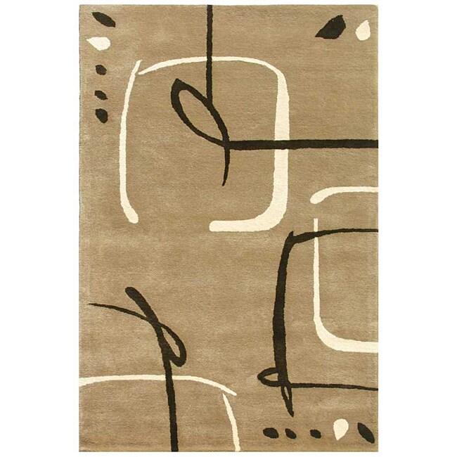 Hand-Tufted Tan Wool Area Rug (9'6 x 13'6)
