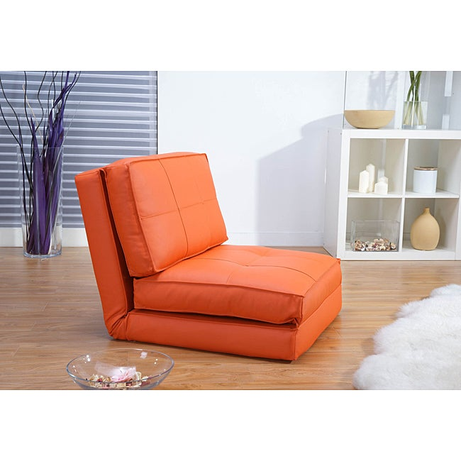 Baltimore Orange Faux Leather Convertible Chair Bed