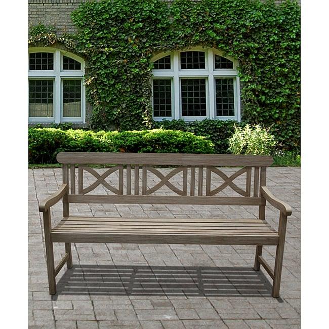 Renaissance Weather-Resistant Outdoor Hand-Scraped Hardwood Bench