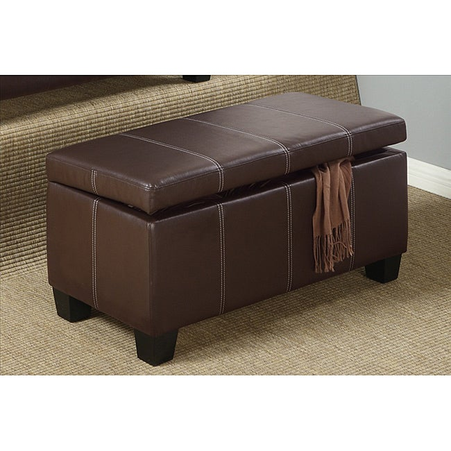 Espresso Leather Storage Bench Ottoman 14042263 Shopping Great Deals On Benches