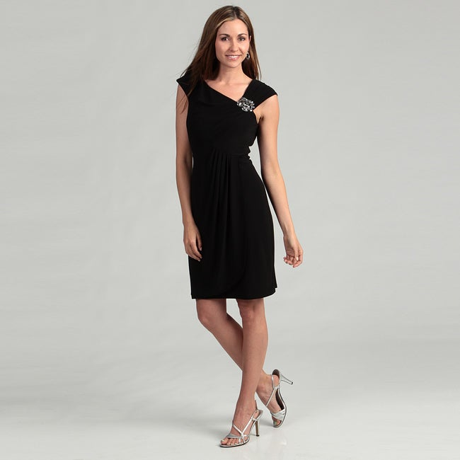 Jessica Howard Womens Black Bead Embellished Dress Was