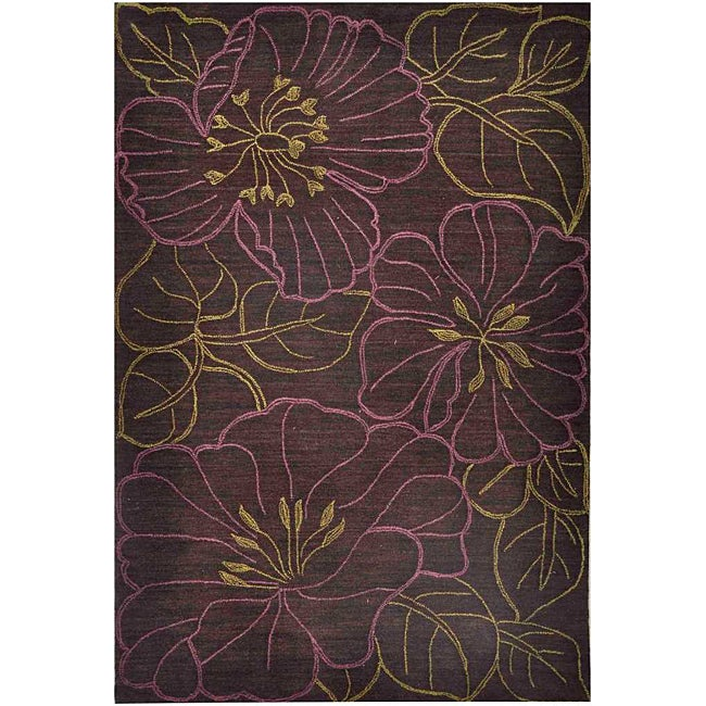 Hand-tufted Brown Multicolor Rug (3'6 x 5'6)