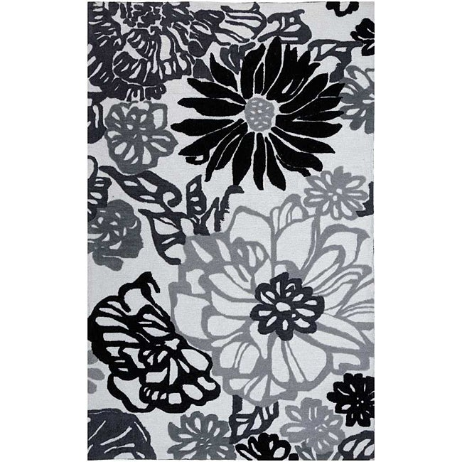 Hand Tufted Black White Floral Rug 2 39 X 3 39 14043028