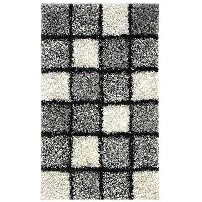 Hand-woven Grey/ White Shag Rug (2' x 3')