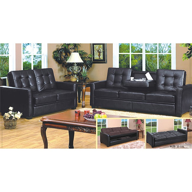 Faux Leather Sleeper Sofa Set 14044541 Shopping Great Deals On Sofas Loveseats