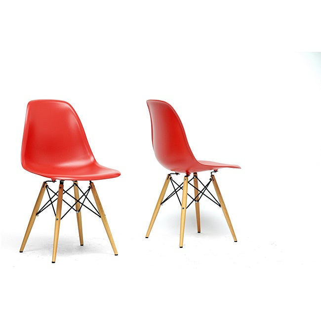 Baxton Studio Azzo Red Plastic Mid-Century Modern Shell Chair (Set of 2) at Sears.com