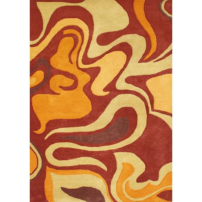 Alliyah Handmade Pompeain Red New Zealand Blend Wool Rug (4' x 6')