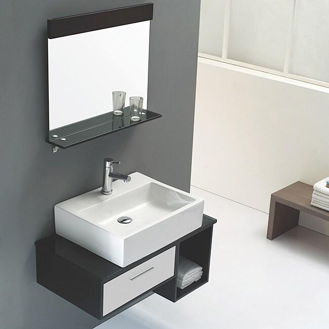 Solid Oak Black and White 31-inch Ceramic Bathroom Vanity