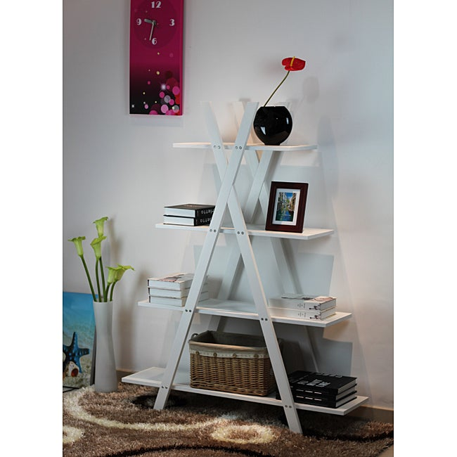 White 4-tier X-shape Bookcase Display Shelf