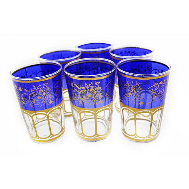 Hand-painted Moroccan Mek-blue-trim Tea Glasses (Set of Six)