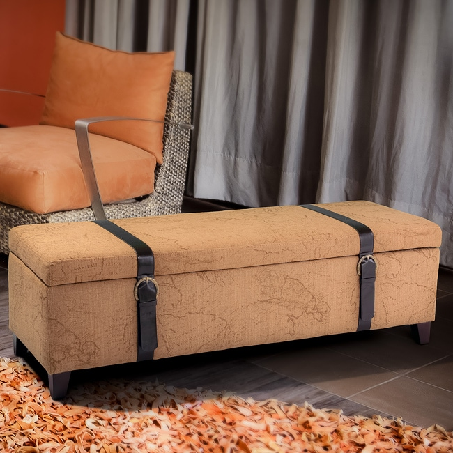 Christopher Knight Home Tan Map Fabric Storage Ottoman with Straps