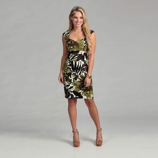 Connected Apparel Women's Green Sheath Dress