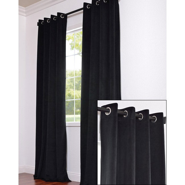 Signature Grommet Black Velvet 96 inch Curtain Panel