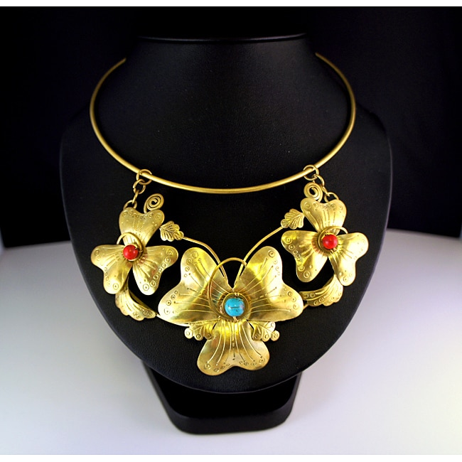 Goldtone Turqouise and Red Coral Flower Necklace (Thailand)