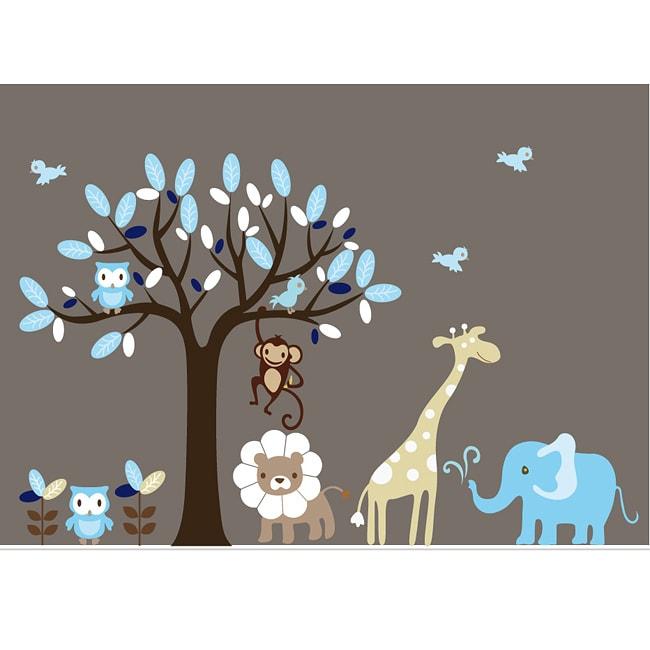 nursery wall art boys safari animal tree wall decal set overstock