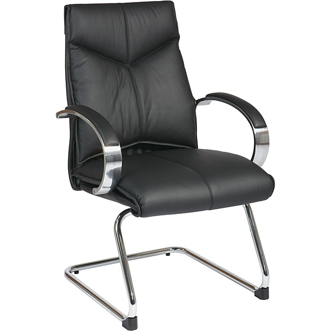 Deluxe Mid-back Executive Black Leather Visitors Chair