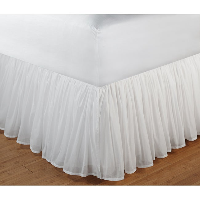 Greenland Home Fashions Cotton Voile White 18-Inch Drop Queen Bedskirt