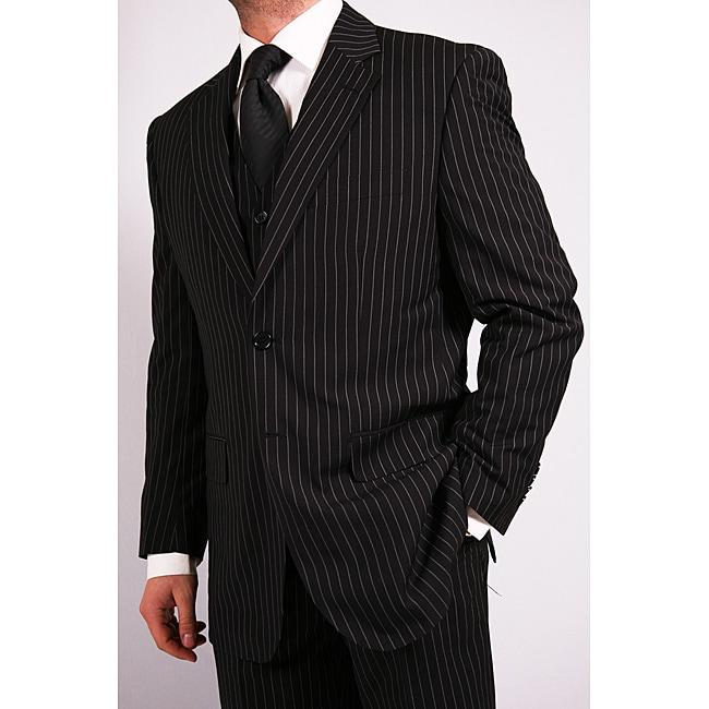 Ferrecci Men's 3-Piece Black Pinstripe Vested Suit with Tie