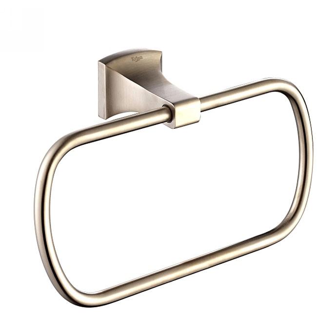 Kraus Fortis Bathroom Accessories - Square Towel Ring Brushed Nickel