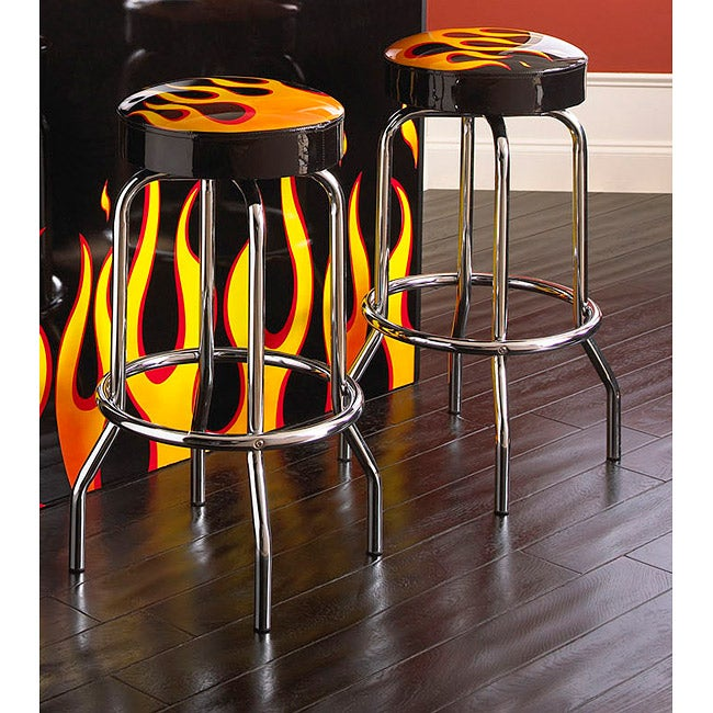 Bernards Black/ Flame Vinyl Swivel Barstool