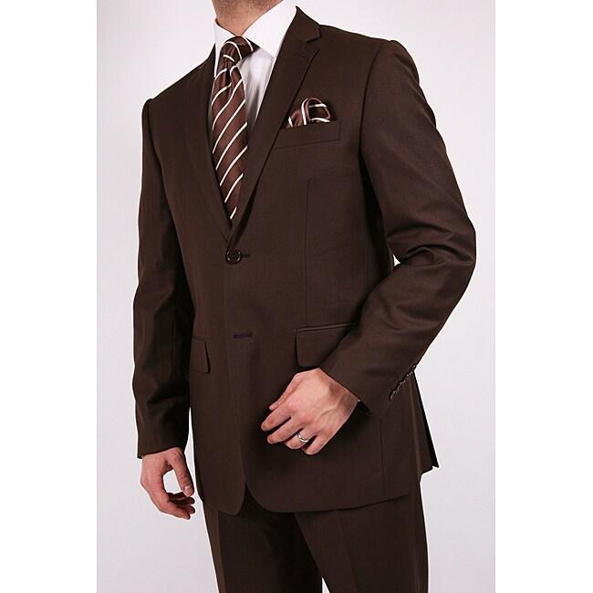 Ferrecci's Men's Brown Slim-Fit Suit with Tie