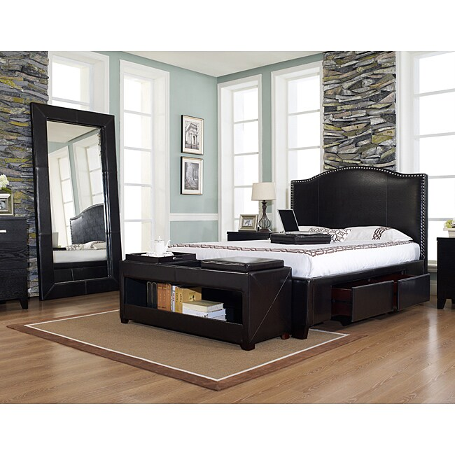 Venice-X Cal King-size Four-Drawer Chocolate Leather Storage Bed